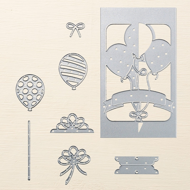 Balloon Pop-Up Thinlits Dies, Retiring, Available Thru May 31st, #birthday #balloons #banners #stampinup