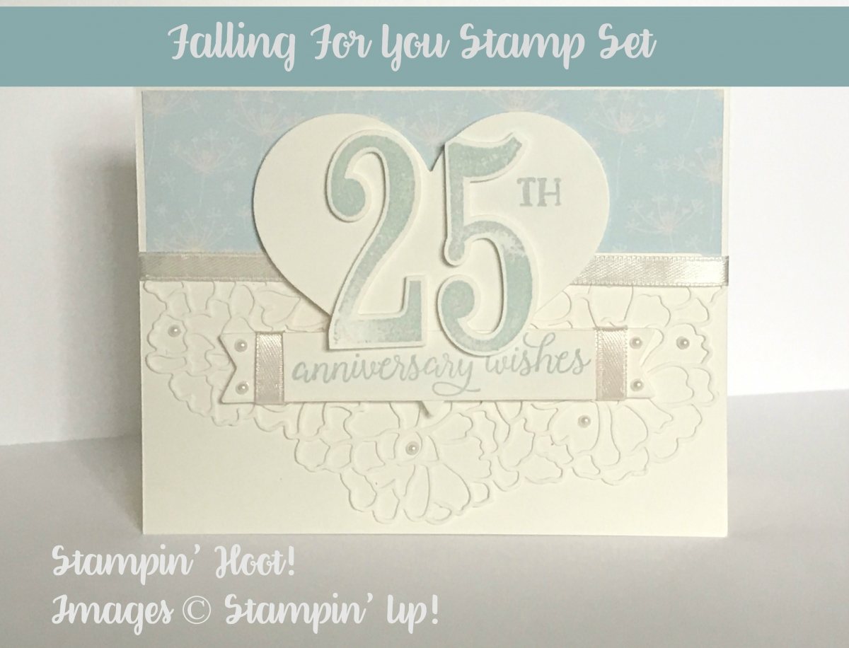 "Stampin' Up! 2017 Occasions Catalog, So In Love Bundle, So Detailed Thinlits Dies, Falling in Love DSP, Very Vanilla 1/4"" Ribbon, Falling for You Stamp Set, Pearl Basic Jewels, Large Number Framelits, Number of Years Stamp Set, Cupcakes Cutout Framelits"