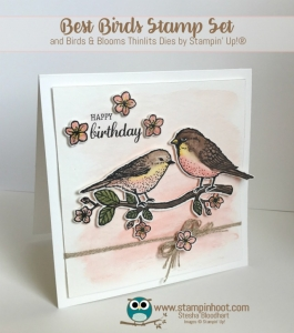 Best Bird Watercolor Birthday Card, Stampin' Hoot! Stesha Bloodhart, #stampinup #birthday