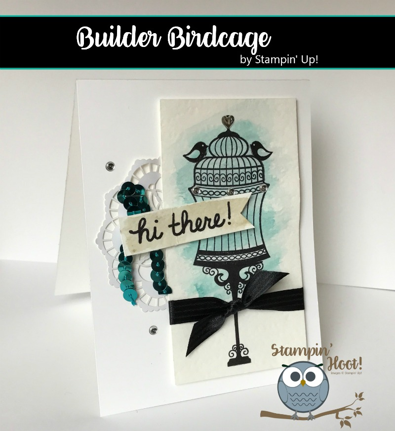 Builder Birdcage Stamp Set, Stampin' Up! 2017 Occasions Catalog, Hi There Card, Watercolor Wash, Stampin' Hoot! Stesha Bloodhart, #stampinup #justbecause