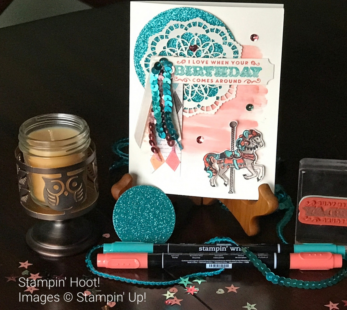 Retiring Stampin' Up! Carousel Birthday, Horse, Glimmer Paper, Watercolor Wash, Sequins Trim, Stampin' Hoot!, Stesha Bloodhart