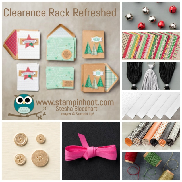 Stampin' Up! Has Refreshed Their Clearance Rack! Items discounted up to 60% Off! Shop now to get the best selection, items will go fast! #stampinup #stampinhoot #clearancerack #deepdiscounts