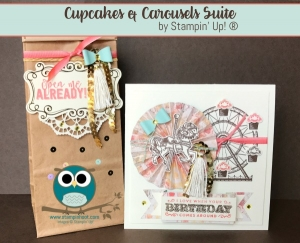 By Stesha Bloodhart, Stampin' Hoot! Carousel Birthday Stamp Set from the Cupcakes and Carousels Suite in the 2017 Occasions Catalog. Embellishment Kit #birthday, #StampinUP