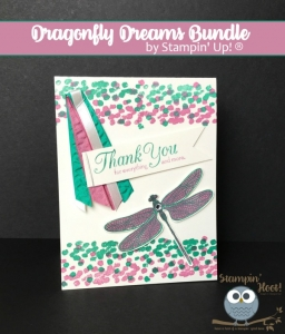 Stampin' Up! Dragonfly Dreams Thank You Card, 2016-2018 In-Colors, #stampinup #thankyoucard #stampinhoot