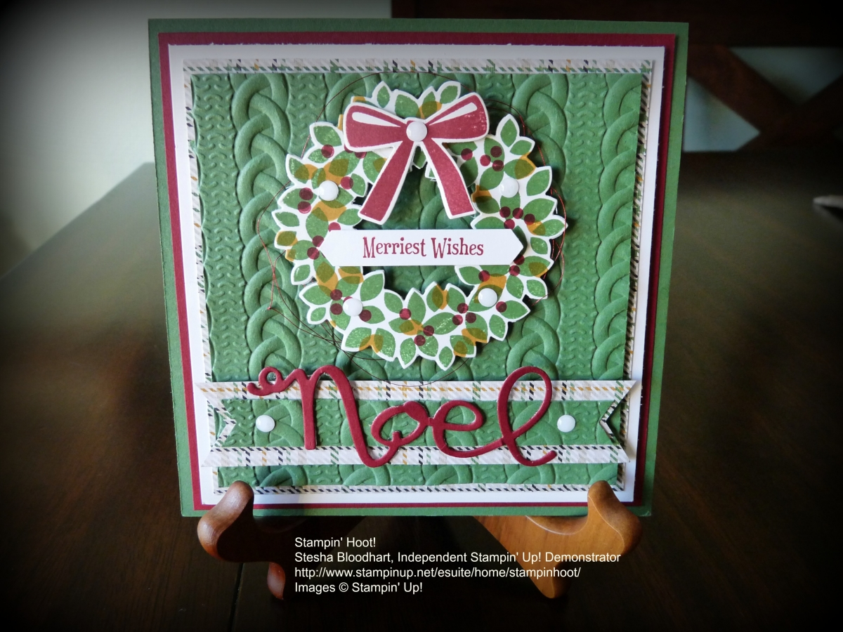 Retiring Stampin' UP! Christmas Wreath, Wondrous Wreath Stamp Set, Wonderful Wreath Framelits, Stampin' Hoot! Stesha Bloodhart