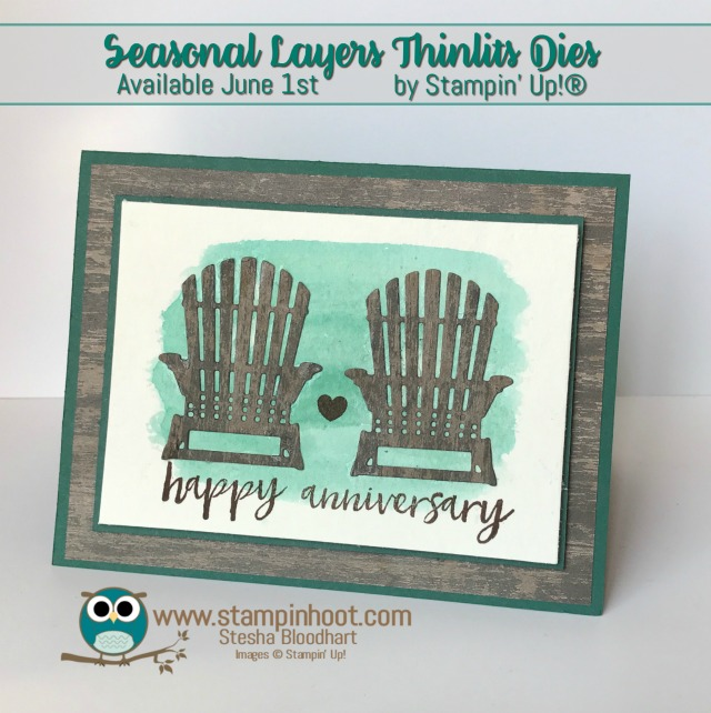 Stampin' Up! Seasonal Layers Thinlits Dies Sneak Peek #happyanniversary #chairs #tranquiltide #waterclor