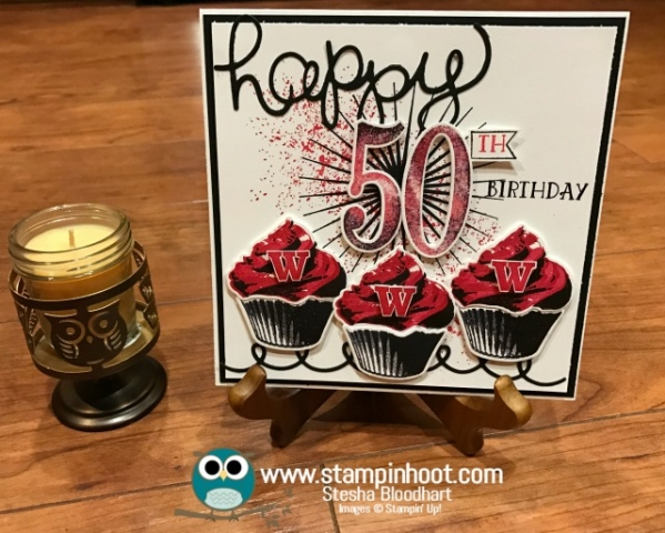 Stampin' Up! Sweet Cupcake Stamp Set and Cupcake Cutout Framelits Dies, 50th Birthday Card, WI Badgers, #birthdaycard #stampinup #50thbirthday