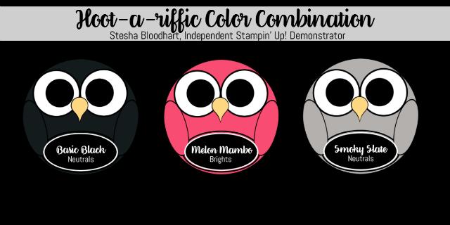 Hoot-a-riffic Color Combination, Basic Black, Melon Mambo, Smoky Slate #stampinup Stesha Bloodhart, Stampin' Hoot! #pink