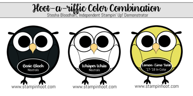 Hoot-a-Riffic Color Combinations Basic Black, Whisper White, Lemon Lime Twist, Stampin' Hoot! #stampinup #colorcombinations #incolor