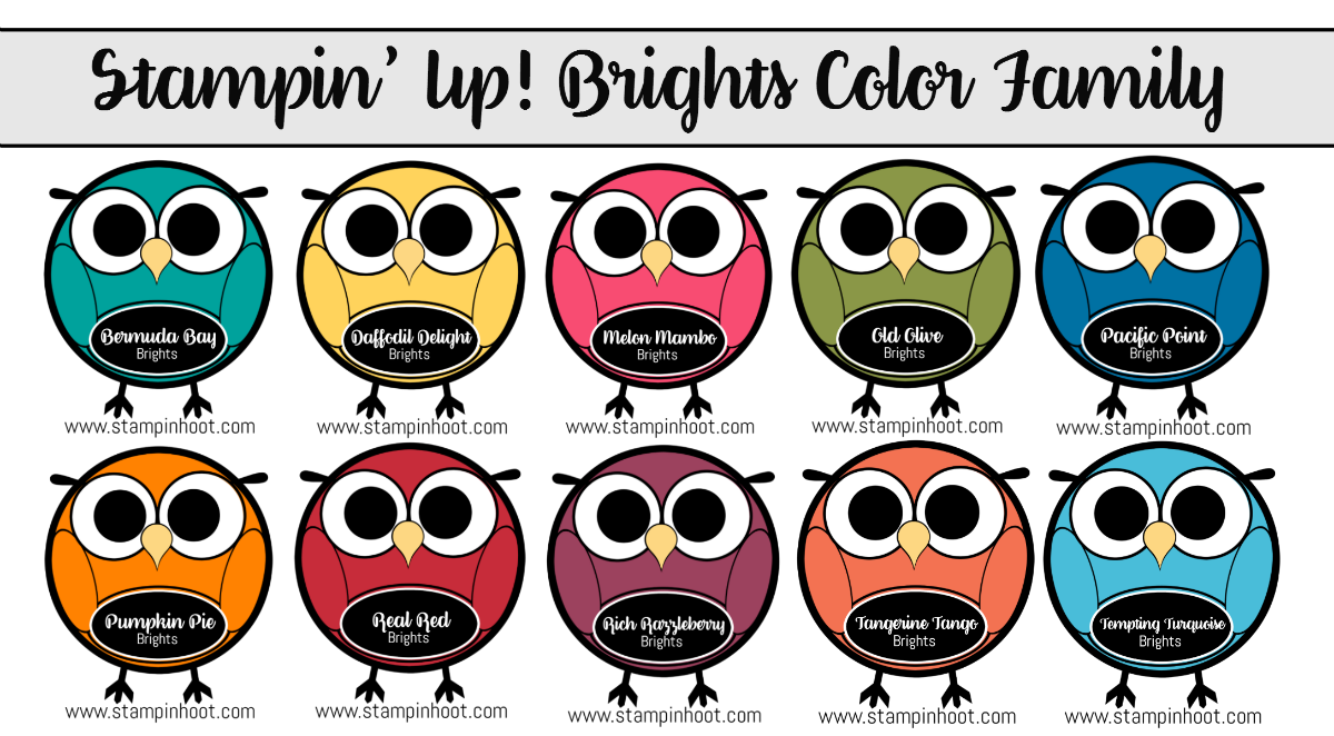 Stampin' Up! Brights Color Family, Owl Line-Up! Stampin' Hoot! Stesha Bloodhart, #stampinhoot, #stampinup #brights