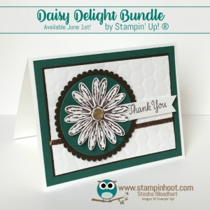 Stampin' Up! Daisy Delight Bundle Sneak Peek, Thank You Card, Remarkable InkBig Blog Hop, Stesha Bloodhart, Stampin' Hoot! New In-Color Tranquil Tide #stampinup #tranquiltide #daisydelight