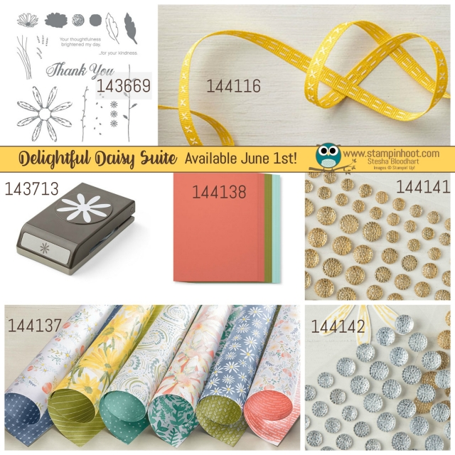 Stampin' Up! Delightful Daisy Suite of Product, Stamps, Punch, Ribbon, Designer Series Paper, Cardstock and Faceted Gems, Order June 1st, www.stampinhoot.com #stampinup #daisy