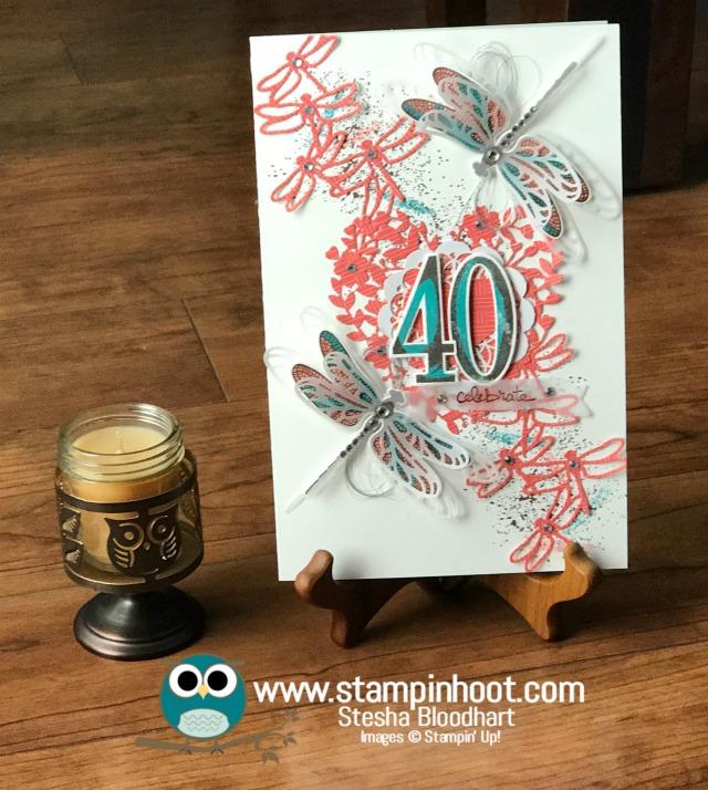 Stampin' Up! Dragonfly Dreams Stamp Set, Detailed Dragonfly Thinlits Dies, Number of Years Stamp Set, Large Number Framelits Dies, 40th Birthday, Birthday Card, #stampinup #stampinhoot #birthday