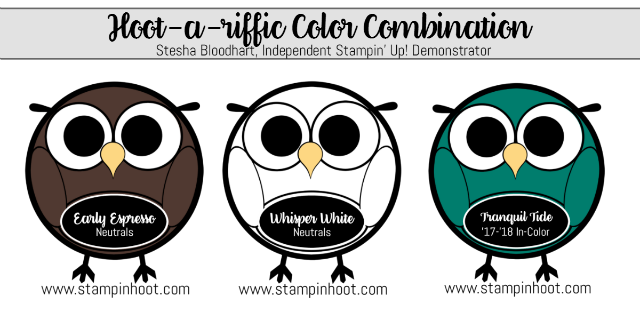 Hoot-a-Riffic Color Combinations, Early Espresso, Whisper White, Tranquil Tide, Stampin' Hoot, Stesha Bloodhart #stampinup #colorcombinations