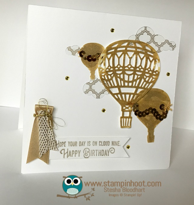 Stampin' Up! Lift Me Up Stamp Set, Up & Away Thinlits Dies, Stampin' Hoot! #gold #hotairballoon #stampinup