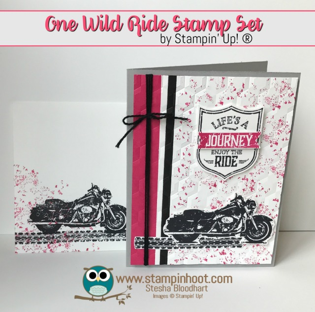 One Wild Ride Journey Card in Melon Mambo, Best Badge Punch, Handmade Card, #stampinup #motorcycle #pink