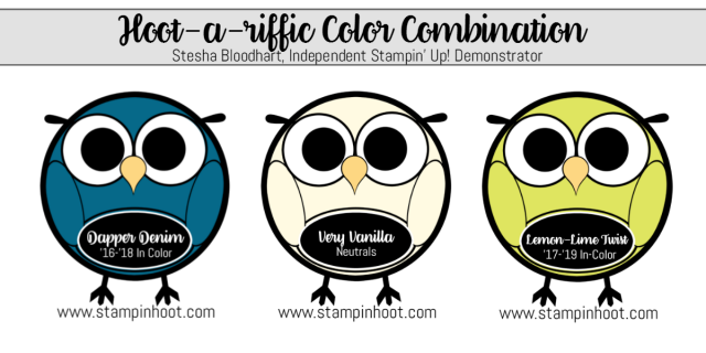 Hoot-A-Riffic Color Combination Dapper Denim Very Vanilla Lemon Lime Twist Stampin' Up! Stesha Bloodhart Stampin' Hoot! #stampinup #stampinhoot #colorcombinations