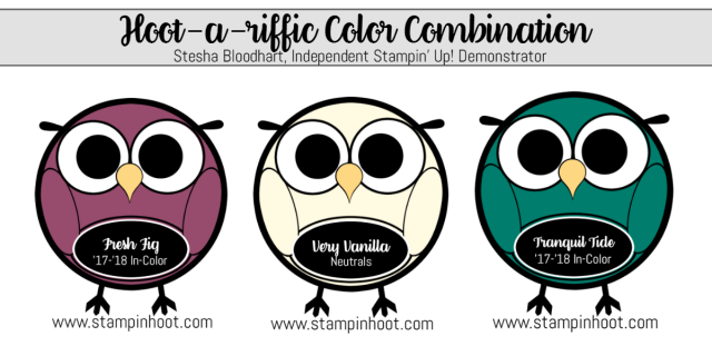Hoot-A-Riffic Color Combination Fresh Fig, Very Vanilla, Tranquil Tide. Stampin' Hoot! #colorcombinations #stampinhoot #stampinup