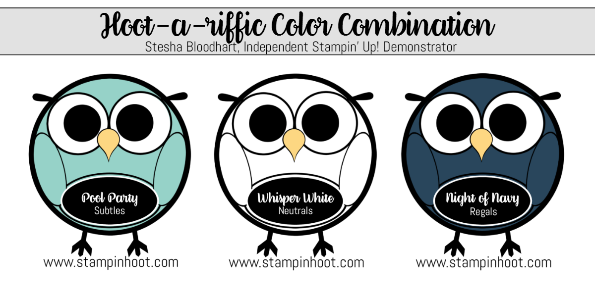 Stampin' Up! Hoot-a-Riffic Color Combinations Pool Party, Whisper White, Night of Navy from Stampin' Hoot! #stampinup #colorcombinations #stampinhoot