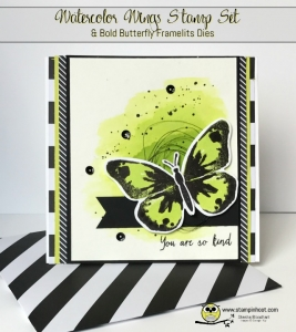 Stampin' Up! Watercolor Wings and Bold Butterfly Framelits Dies, Lemon-Lime Twist, at Stampinhoot.com Stesha Bloodhart #stampinup #watercolor #butterfly
