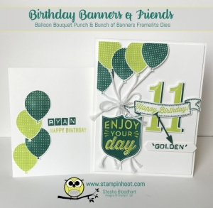 Stampin' Up! Birthday Banners Stamp Set and Coordinating Punch and Framelits Makes an Easy Birthday Card, Number of Years Set Steps It Up, Stampin' Hoot! #stampinup #birthdaycard #lemonlimetwist #tranquiltide