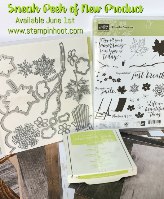 Stampin' Up! Sneak Peek, Colorful Seasons Bundle, Lemon-Lime Twist In-Color and Wood Textures DSP Stack, Available June 1st 2017 #stampinhoot #sneakpeek #steshabloodhart