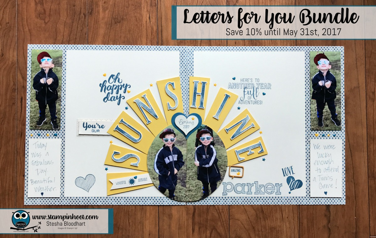 Stampin' Up! Letters for You Bundle, 10% Off, Scrapbook Layout #stampinup #lettersforyou #stampinhoot #scrapbooklayout