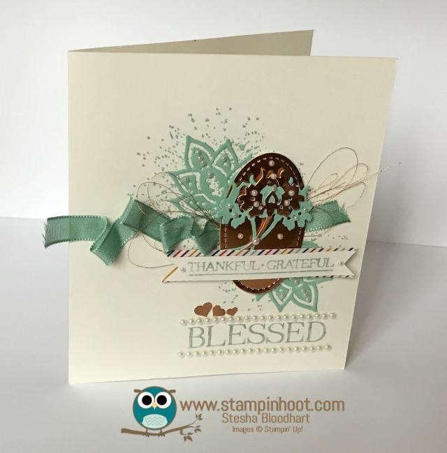 Stampin' Up! Paisleys & Posies Stamp Set, Paisley Framelits Dies, Thankful Card, #stampinup #thankyoucard #mintmacaron