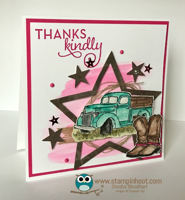 Stampin' Up! Watercolor Country Livin' Thank You Card #stampinup #countrylivin #watercolor #thankyou