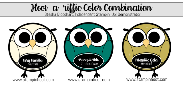 Hoot-a-Riffic Color Combination, Very Vanilla, Metallic Gold, Tranquil Tide #stampinup, #hoot, #colorcombinations