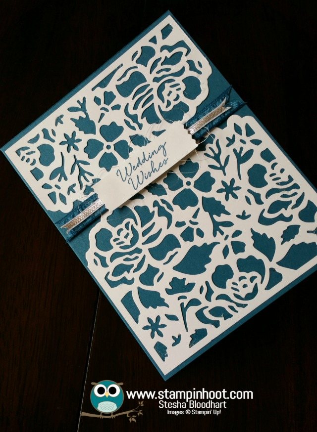 Stampin' Up! Floral Phrases Wedding Wishes Card, Detailed Floral Thinlits, #weddingcard #stampinup #stampinhoot
