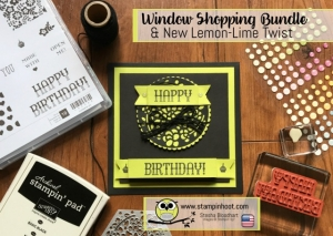 Stampin' Up! Window Shopping Bundle, Window Box Thinlits Dies, Window Shopping Stamp Set, Sneak Peek Glitter Enamel Dots, Lemon-Lime Twist, Stampin' Hoot! #stampinup #windowshopping #stampinhoot #sneakpeek