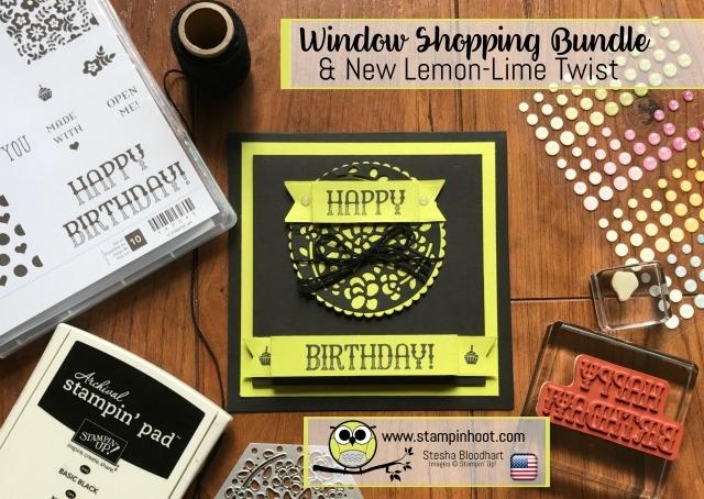 Stampin' Up! Window Shopping Bundle, Window Box Thinlits Dies, Window Shopping Stamp Set, Sneak Peek Glitter Enamel Dots, Lemon-Lime Twist, Stampin' Hoot! #stampinup #windowshopping #stampinhoot #sneakpeek