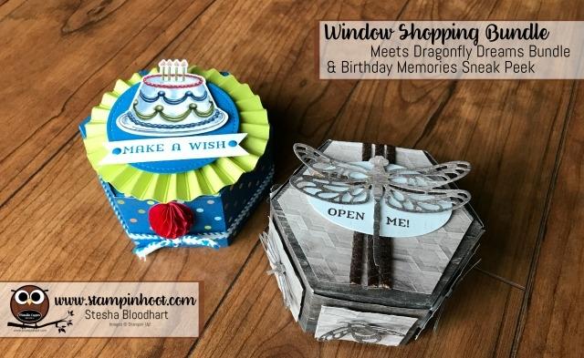 Stampin' Up! Window Shopping Bundle Meets Dragonfly Dreams and Birthday Memories Bundle Stesha Bloodhart, Stampin' Hoot! #stampinup #bundleandsave #stampinhoot