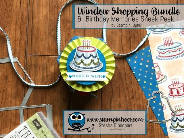 Stampin' Up! Window Shopping Bundle Meets Birthday Memories DSP on my blog, Stesha Bloodhart, Stampin' Hoot! #stampinup #windowshopping #bundleandsave #stampinhoot