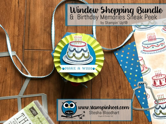 Stampin' Up! Window Shopping Bundle Meets Birthday Memories DSP on my blog, Stesha Bloodhart, Stampin' Hoot! #stampinup #windowshopping #bundleandsave #stampinhoot