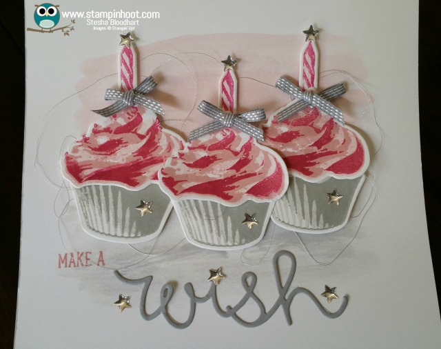 Stampin' Up! Sweet Cupcake Stamp Set and Cupcake Cutout Framelits Dies, Make a Wish Birthday Card, #birthdaycard #stampinup #cupcakes