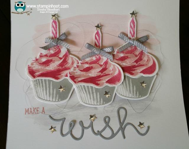 Stampin' Up! Sweet Cupcake Stamp Set and Cupcake Cutout Framelits Dies, Make a Wish Birthday Card, #birthdaycard #stampinup #cupcakes