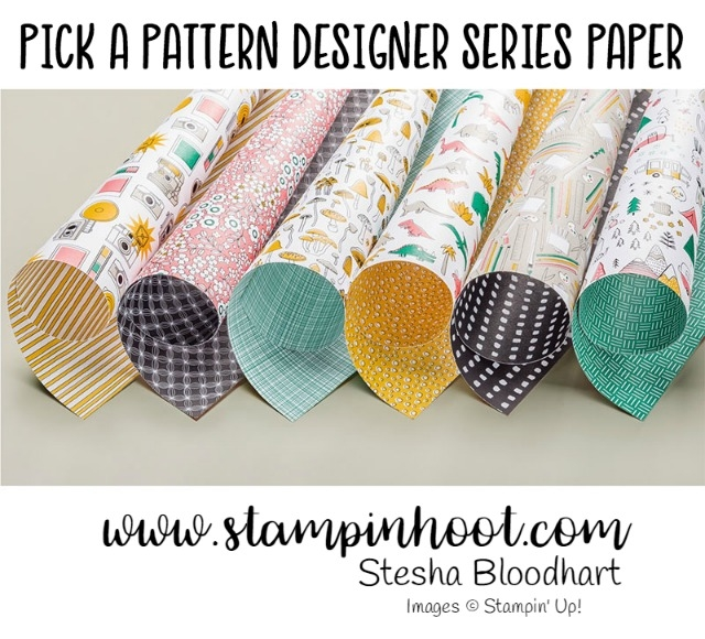 Pick a Pattern Designer Series Paper by Stampin' Up! Pick a pack of patterned paper! So many designs, so many colors, so many uses. Many images can be fussy cut to create embellishments for cards and tags. Sweet, detailed, hand-drawn patterns add delicate fun to your creation. Coordinating colors: Basic Black, Crushed Curry, Emerald Envy, Flirty Flamingo, Sahara Sand, Whisper White #stampinup #stampinhoot #steshabloodhart #dsp