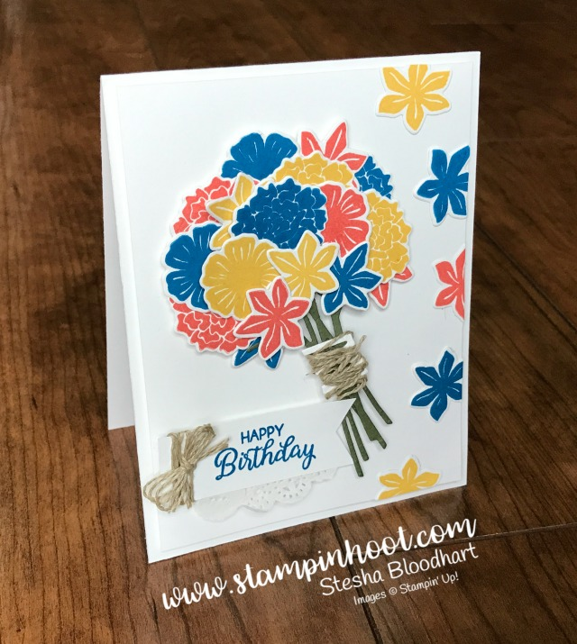 "Stampin' Up! Beautiful Bouquet Bundle Birthday card for the Pals June 2017 Blog Hop, Pick a ""B"" Theme find at Stampin' Hoot! Stesha Bloodhart #stampinhoot #palsbloghop #birthdaycard #handmadecards #flowers"
