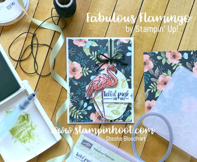 Fabulous Flamingo Stamp Set by Stampin' Up! Featured on My Blog, Stampin' Hoot! Stesha Bloodhart, Also Global Design Project Sketch Challenge 090 #stampinup #fabulousflamingo #gdp090 #cards