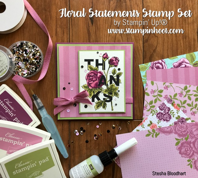Stampin' Up! Floral Statements Stamp Set, Beautiful Watercolor, Petal Garden DSP, Find it at Stampin' Hoot! Stesha Bloodhart #stampinup #stampinhoot #floralstatements