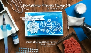 Stampin' Up! Flourishing Phrases Stamp Set and the Emboss Resist Technique for #tttc003 at Stampin' Hoot! by Stesha Bloodhart Pacific Point and White Embossing Powder #embossresist #stampinhoot #handmadecards #sympathy #watercolor
