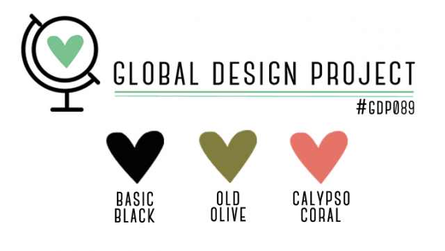 Global Design Project 089 Color Challenge Basic Black, Old Olive, Calypso Coral
