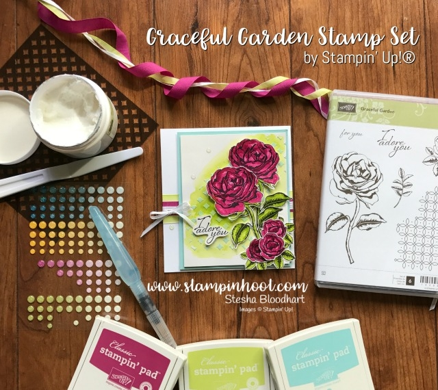 Stampin' Up! Graceful Garden Stamp Set for the Global Design Project Guest Designer Stesha Bloodhart #GDP093 Color Challenge Lemon-Lime Twist, Berry Burst and Pool Party, Come Play Along and Check Out Stampin' Hoot! Handmade Paper Craft Creations, Cards and Scrapbook Pages #stampinup #stampinhoot #papercrafts #cards