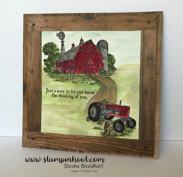 Stampin' Up! Heartland Stamp Set Turned into a Watercolor Scene with a Faux Wood Frame, Details on my Site, Stesha Bloodhart, Stampin' Hoot! #heartland #barn #tractor #stampinup