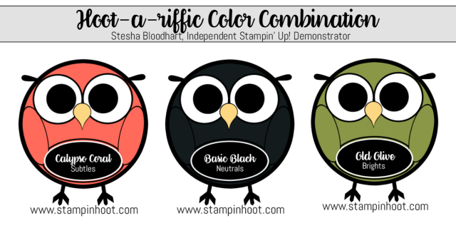 Hoot-A-Riffic Color Combination Stampin' Up! Calypso Coral, Basic Black, Old Olive at Stampin' Hoot! Stesha Bloodhart, #stampinhoot #stampinup #colorcombination