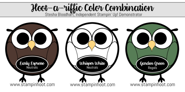 Hoot-A-Riffic Color Combination Early Espresso, Whisper White and Garden Green #stampinup #colorcombinations #papercrafts #stampinhoot