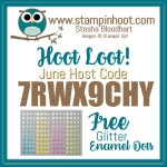 Stampin' Hoot! June Hoot Loot! Free Stampin' Up! Glitter Enamel Dots with $50 Purchase, #hootloot #stampinup #stampinhoot #freebies