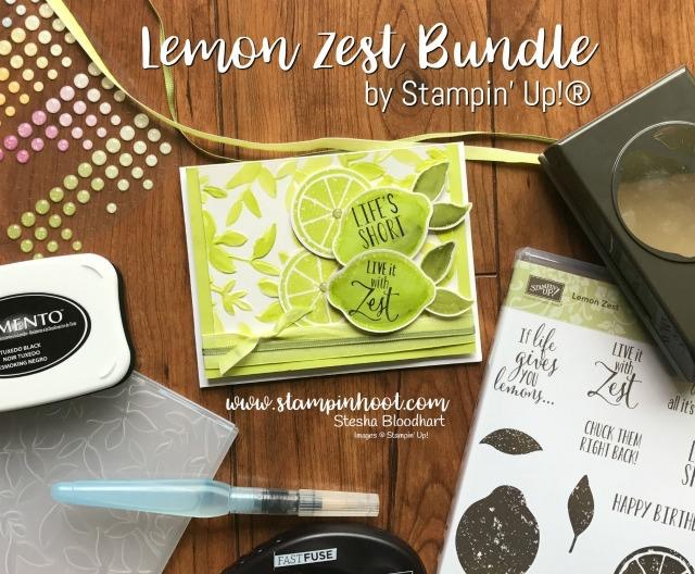 Stampin' Up! Lemon Zest Bundle Save 10% Lemon Zest Stamp Set and Lemon Builder Punch - Lemon-Lime Twist 2017-2019 In-Color Inspiration Station found at Stampin' Hoot! Stesha Bloodhart #stampinup #lemonzest #lemonlimetwist #steshabloodhart #stampinhoot #handmadecards